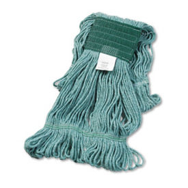 Green Super Looped Medium Sized Wet Mop Head - Carton of Twelve, V21783