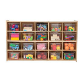Twenty Cubby Storage Unit with Clear Trays, B34471