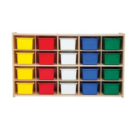 Twenty Cubby Storage Unit with Colorful Trays, B34472