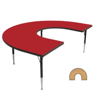 """Adjustable Height Horseshoe Shaped 60"""" x 66"""" Activity Table with Armor Edge, A11024"""
