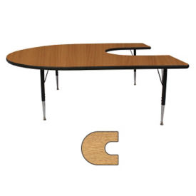 "Adjustable Height Kidney Shaped 48"" x 72"" Activity Table with Armor Edge, A11021"