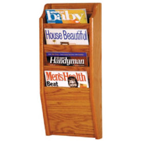 Oak Literature Rack with 4 Magazine Pockets, D33025