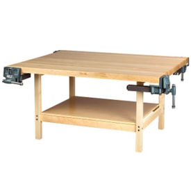 "Four Person Maple Workbench with Two Vices - 54"" x 64"", T11792"