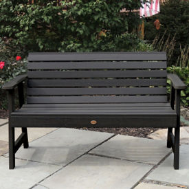 "Synthetic Horizontal Slat Outdoor Bench 60""W, F10006"