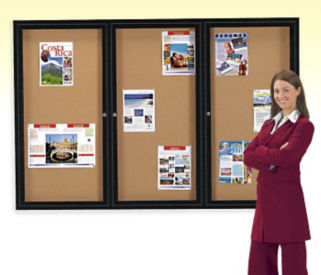 Enclosed 2-Door Bulletin Board 36x48, B20404