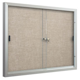 Sliding-Door Bulletin Board 6'W x 4'H, B23139-1