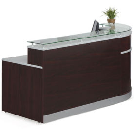 "Esquire Glass Top Reception Desk with ADA Return- 95""W x 64""D, W60068"
