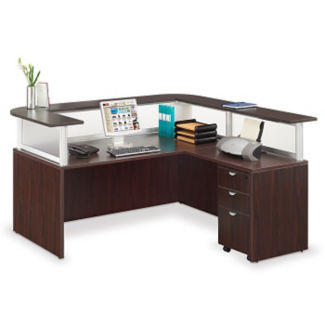 L-shaped Reception Desk with Mobile Pedestal , D35262