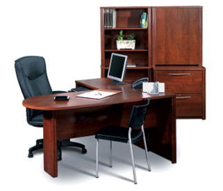 Peninsula L Desk with Storage, T60040