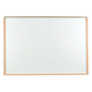 Porcelain White Board with Oak Frame 4'wx3'h, B20840