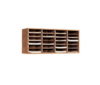 Oak Literature Organizer with 24 Pockets, D33047