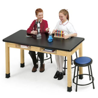 "ChemArmor Science Lab Table with Book Boxes 24"" Wide x 48"" Long, L70006A"