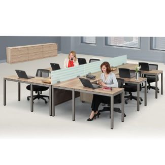 At Work Six Person Compact L-Desk Set, D30350
