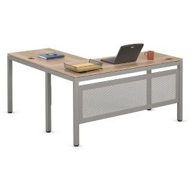 "At Work Compact L-Desk with Modesty Panel in Warm Ash - 60""W x 60""D, D37530"