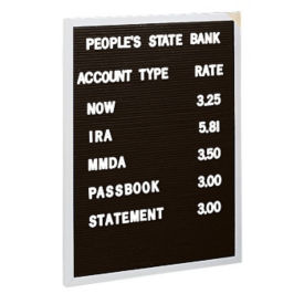 "Indoor Letter Board 18"" W x 24"" H, B20343"