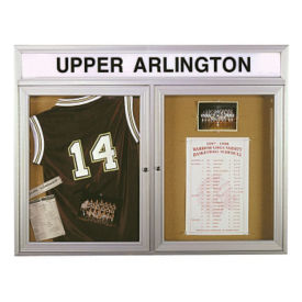 "Bulletin Board with Illuminating Header 48"" x 36"", B20498"