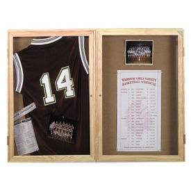 "Indoor Oak Bulletin Board 60""x48"", B20545"