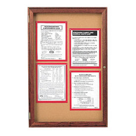 "Indoor Walnut Stain Bulletin Board 36""x36"", B20552"
