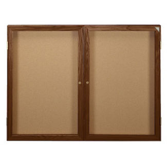 "Indoor Walnut Stain Bulletin Board 60""x36"", B20554"