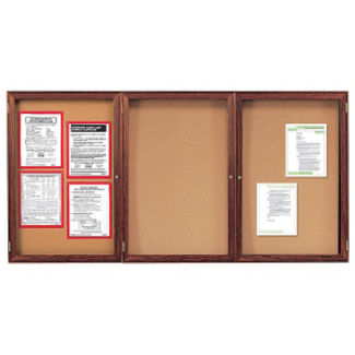 "Indoor Walnut Stain Bulletin Board 72""x36"", B20556"