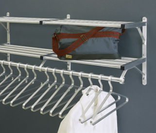 "Coat Rack with 2 Shelves and Extra Hooks 48"" Long, W60028C"