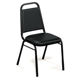 "Square-Back Stack Chair with 1 1/2"" Vinyl Seat, C67776"