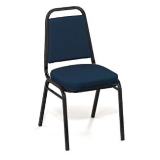"Square-Back Stack Chair with 2"" Fabric Seat, C67780"