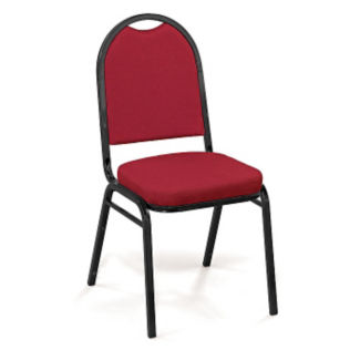"Round-Back Stack Chair with 2"" Fabric Seat, C67781"