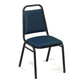 "Square-Back Stack Chair with 1 1/2"" Vinyl Seat, C67783"