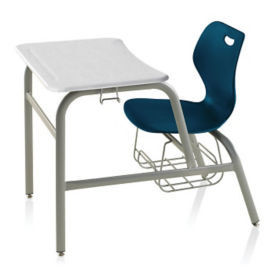 Hard Plastic Top Chair Desk with Bookrack, C70335