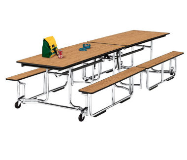 Cafeteria Table 12' long with Bench Seating, D44041