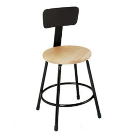 Stool with Wood Seat and Backrest, D57047