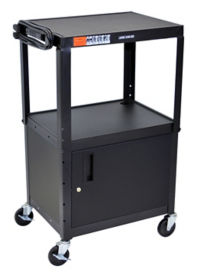 Adjustable Height AV Cart with Cabinet - Black, M10008