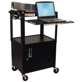Adjustable Height AV Cart with Cabinet and Tray, M10019