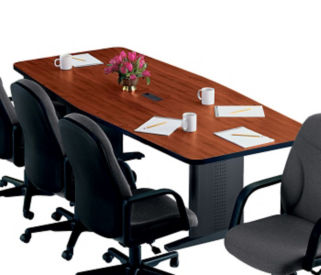 "Boat Shaped Conference Table with Wide T-Legs – 48""D x 120""W, C90074"