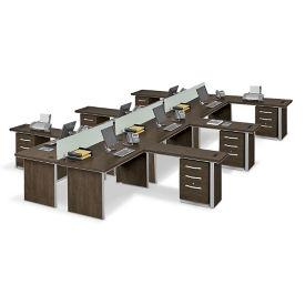 Metropolitan Six L-Desk Benching Set, D30281