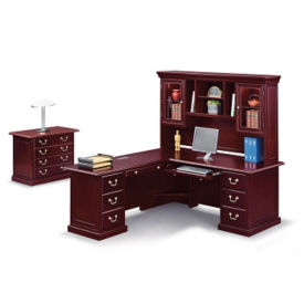 "Cumberland L-Desk with Left Return and Hutch - 72""W, D35640"
