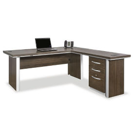 "72"" Reversible L-Desk with Pedestal, D31024"