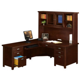 "Left L-Desk with Hutch - 68.25""W, D35676"