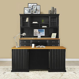 Distressed Black with Oak Complete Desk Group, D37776