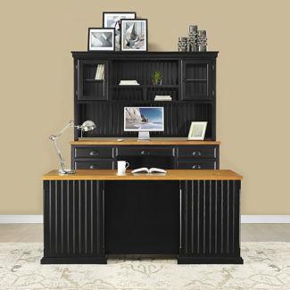 Distressed Black with Oak Complete Desk Group, D37776