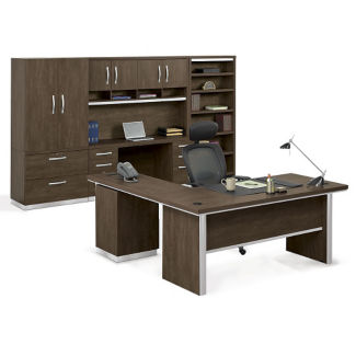 L-Desk Suite with Storage Wall, D31040