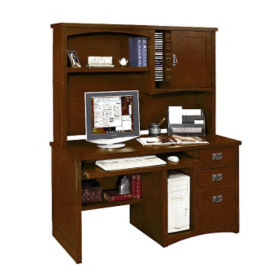 Mission Style Computer Desk with Hutch, D35313