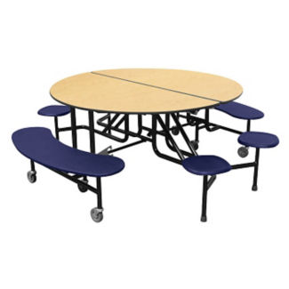 "Round 12 Seat Combo Mobile Cafeteria Table - 29""H, K10042"