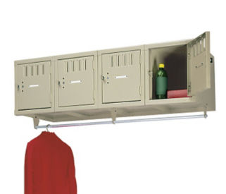 Wall Mounted 4-Person Locker with Coat Rack, B30215