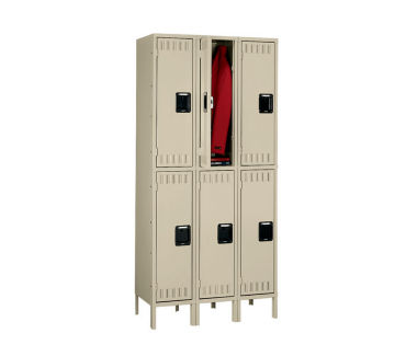 Double Tier Lockers 3 Wide With Legs, D23025