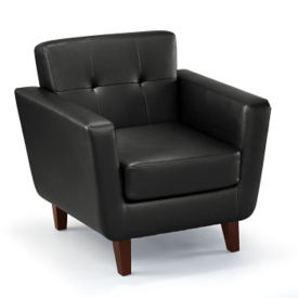 Faux Leather Club Chair with Button Tufting, W60825