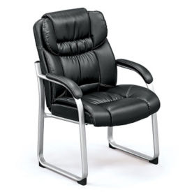 Faux Leather Guest Chair with Cushioned Arm Rests, C80397