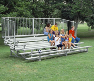 Aluminum Bleacher with 4 Rows and Guardrails 9' Long, F40284A