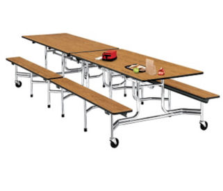 10' Cafeteria Table with Bench Seating, K10001